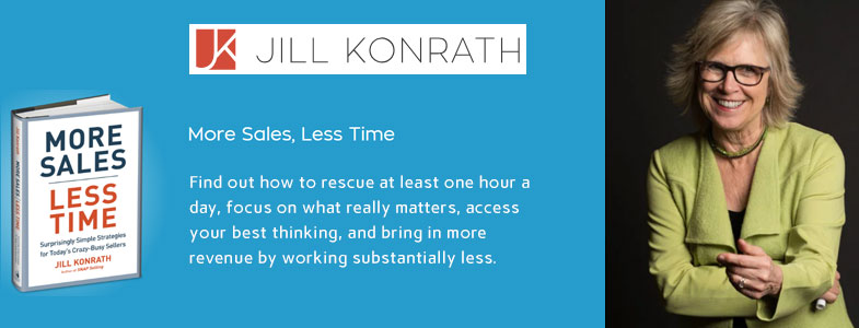 "image of Jill Konrath and her book ""More Sales, Less Time"""