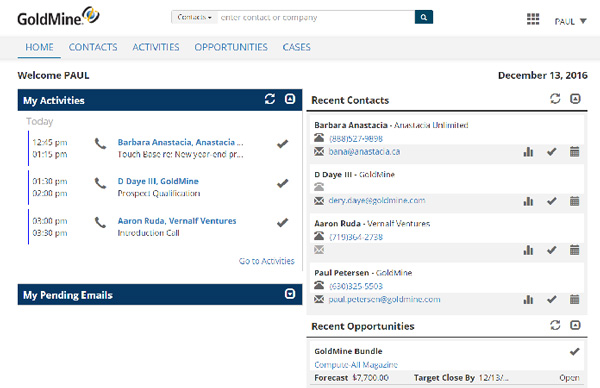 GoldMine CRM Web Features - Engage Your Customers