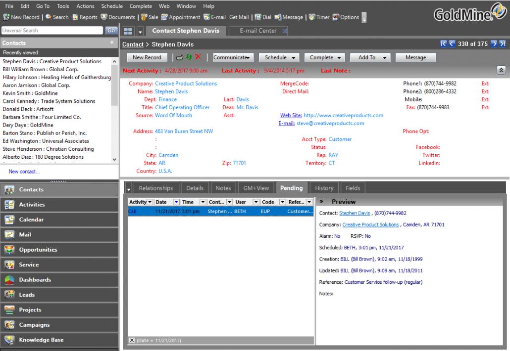 GoldMine CRM Main screenshot
