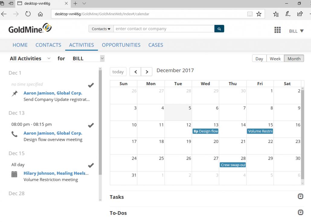 GoldMine CRM Activities screenshot